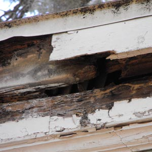 The damage is more visible with the gutters gone.